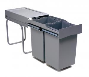 Pull-out waste bin, 28L, plastic grey