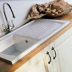 Double Bowl Ceramic Sink With Drainer : Sonnet ceramic sink, single bowl single drainer, for minimum 450mm ...