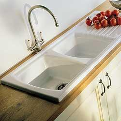 Double Bowl Ceramic Sink With Drainer : Sonnet ceramic sink, double bowl single drainer, for minimum 800mm ...