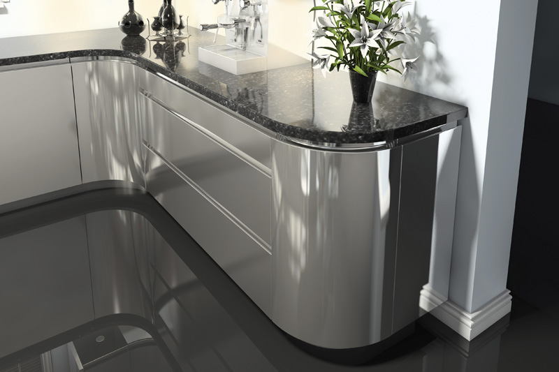 Jazi Gloss Silver Grey High Gloss Handleless Mak