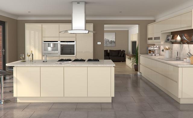 Welford High Gloss Handleless Cream, Gloss Cream Kitchen Cupboards